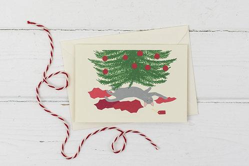 Naughty Christmas Cat under the Christmas tree- Christmas greetings card