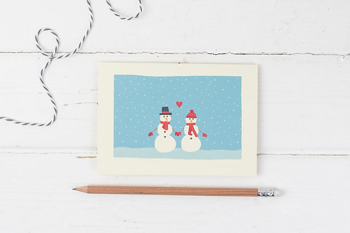 Snowman love- Christmas greetings card