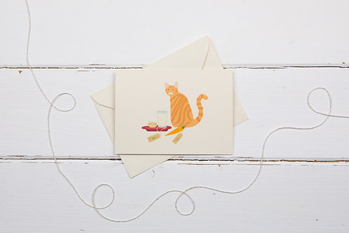 Naughty ginger tabby cat with Santa's treats- Christmas card