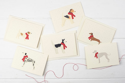 Set of 6 Christmas dogs in the snow cards- Christmas greetings cards