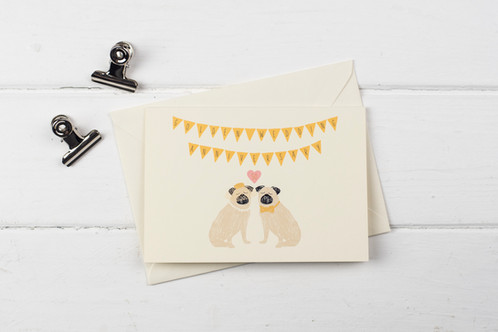 Pug golden wedding anniversary greetings card m4hsunfo