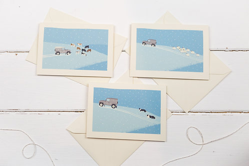 Set of 3 grey Landrover in the snow Christmas greetings cards