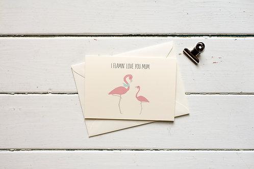 Flamingo- I flamin' love you mum- greetings card
