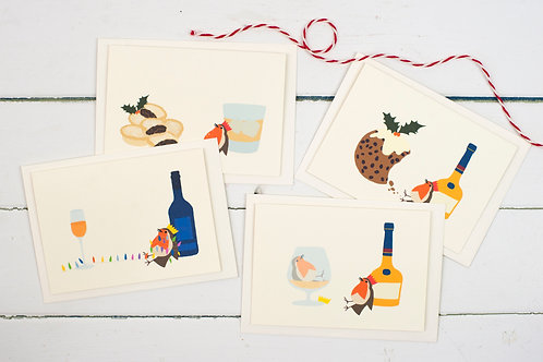 Set of 4 Drunken Christmas Robin cards
