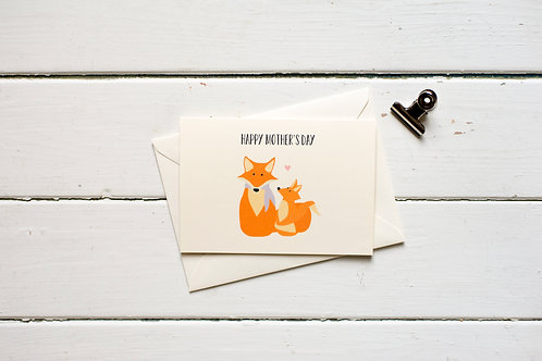Mother's Day Foxes greetings card
