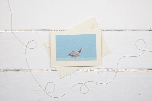 Guineafowl in the snow- Christmas greetings card