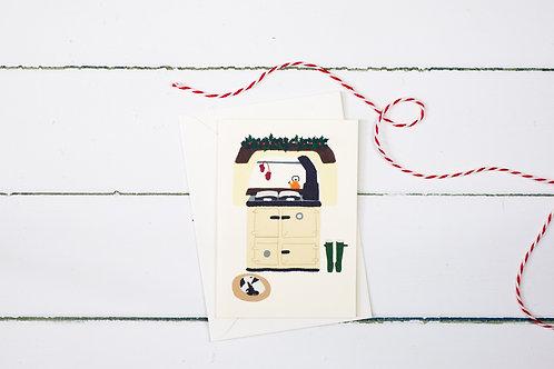 Christmas time Aga greetings card