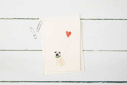 Pug with a heart balloon greetings card