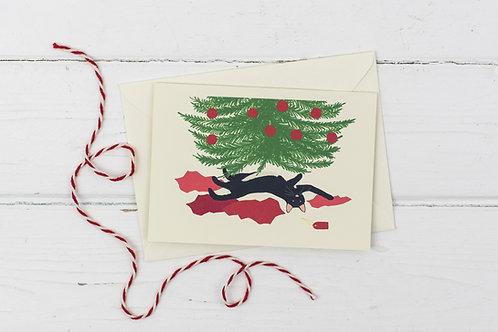 Naughty black cat under the Christmas tree- Christmas greetings card