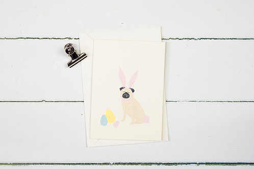 Easter pug greetings card