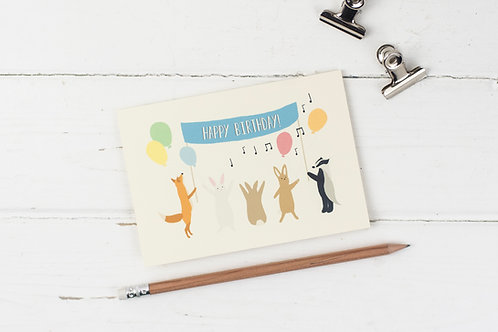Woodland party birthday card