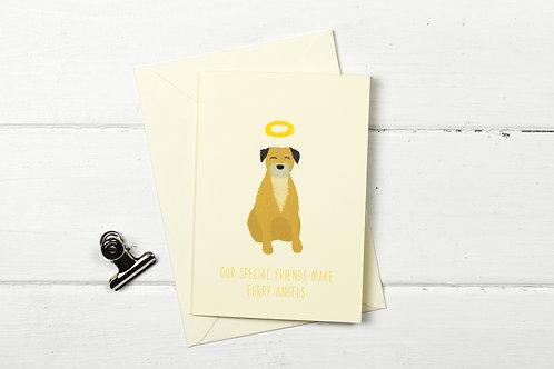 Dog pet sympathy card- Border terrier- Furry Angel- pet loss card