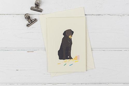 Naughty chocolate Labrador birthday card