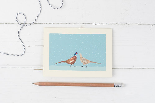 Pheasants in the snow Christmas card set