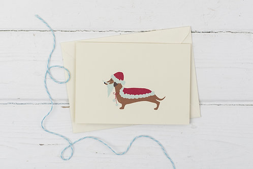 Dachshund Santa- Christmas greetings card