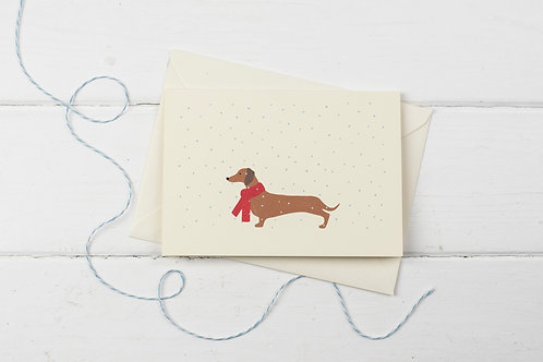 Dachshund in the snow- Christmas greetings card