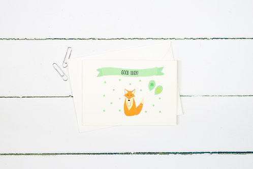 Fox- Good luck greetings card