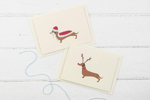 Set of 4 Santa & Rudolph Dachshund cards