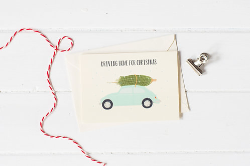 Classic VW Beetle in blue with Christmas tree- greetings card