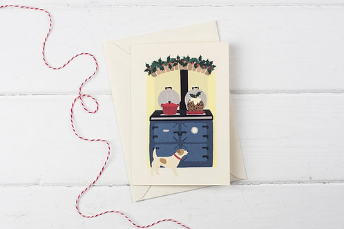 Christmas Aga in blue with Jack Russell- Christmas greetings card