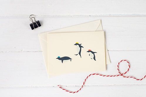 Penguin Christmas party- Christmas greetings card