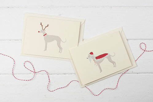 Set of 4 Santa & Rudolph Whippet cards