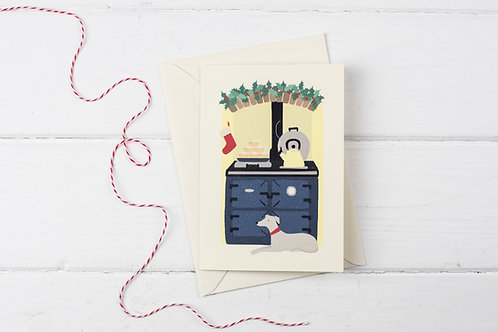 Christmas Aga in blue with Whippet lay down- Christmas greetings card