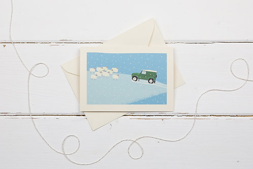 Landrover and sheep- Country 4x4 in green out in the snow- greetings card