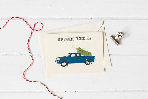Pick up truck in blue with Christmas tree- greetings card