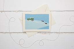 Landrover defender and collies in the snow Christmas card