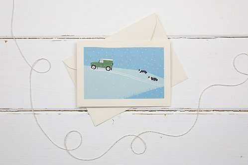 Landrover and collies- Country 4x4 in green out in the snow- Christmas card