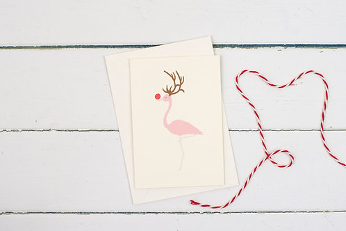 Rudolph flamingo Christmas greetings card