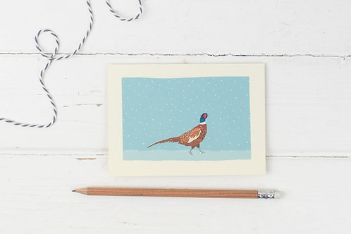Pheasant in the snow- Christmas greetings card