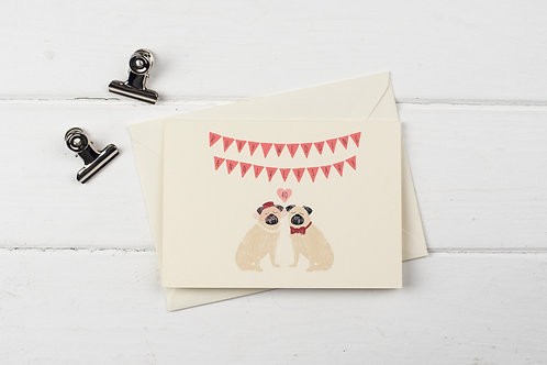 Pug- Ruby wedding anniversary greetings card