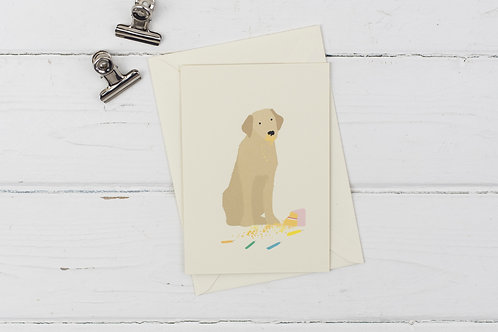 Naughty golden Labrador birthday card