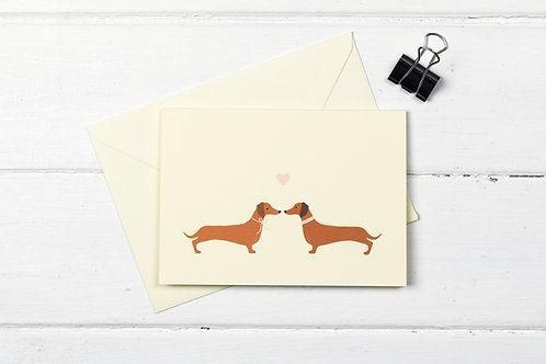 Dachshund love- greetings card