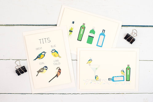 Set of 3 gin & tit themed cards