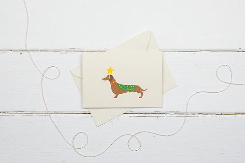 Dachshund Christmas tree- Christmas greetings card