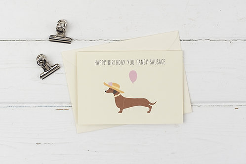 Fancy sausage- Dachshund birthday card