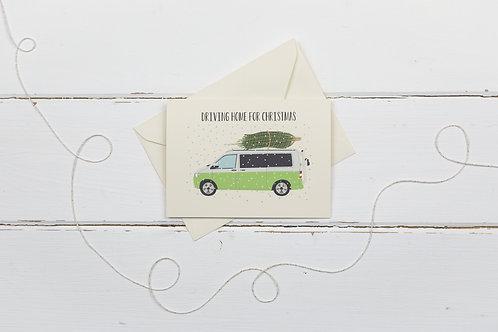 Green camper van with Christmas tree- greetings card