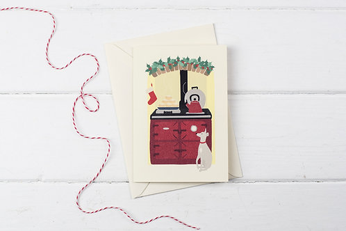 Christmas Aga in red with Whippet- Christmas greetings card