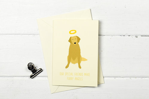 Dog pet sympathy card- Golden retriever- Furry Angel- pet loss card