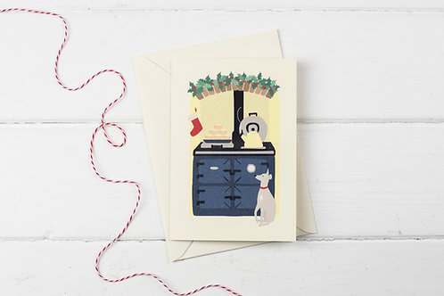 Christmas Aga in blue with Whippet- Christmas greetings card