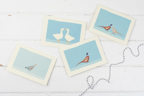 Christmas birds in the snow- Christmas card set