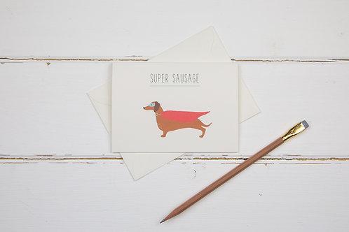 Super sausage- Dachshund- Well done card