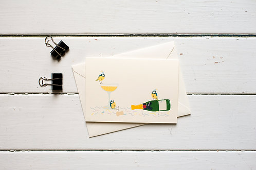 Blue tits drunk on champagne greetings card