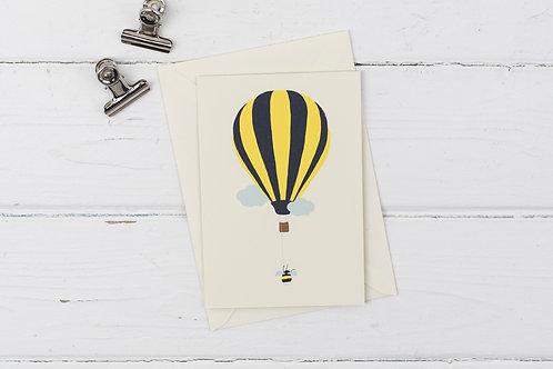 Bee hot air balloon card