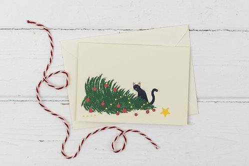 Naughty black cat with knocked over Christmas tree- Christmas greetings card