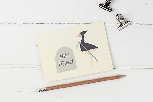 Flamingo grim reaper & gravestone birthday card