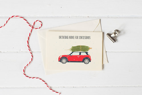 Mini Cooper in red with Christmas tree- Christmas greetings card